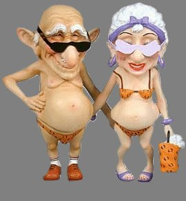 Funny picture of old man and old woman in bathing suits